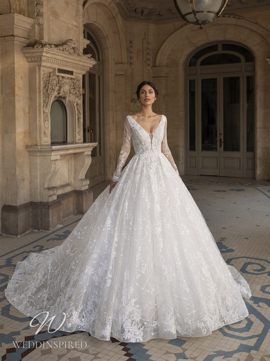 A Pronovias Privée 2021 lace princess ball gown with long sleeves and a v neck