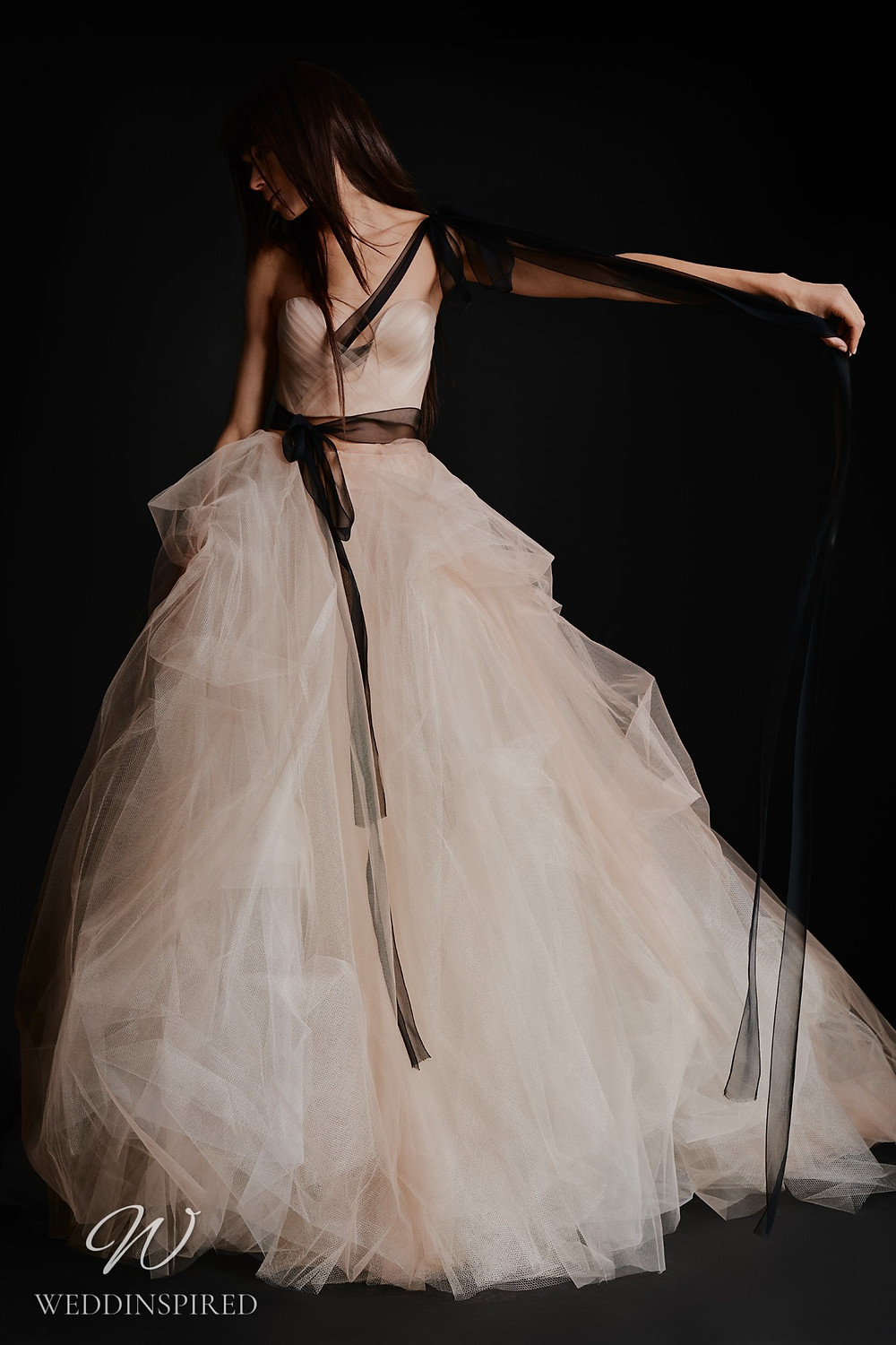 A Vera Wang Fall 2021 strapless champagne tulle A-line wedding dress
