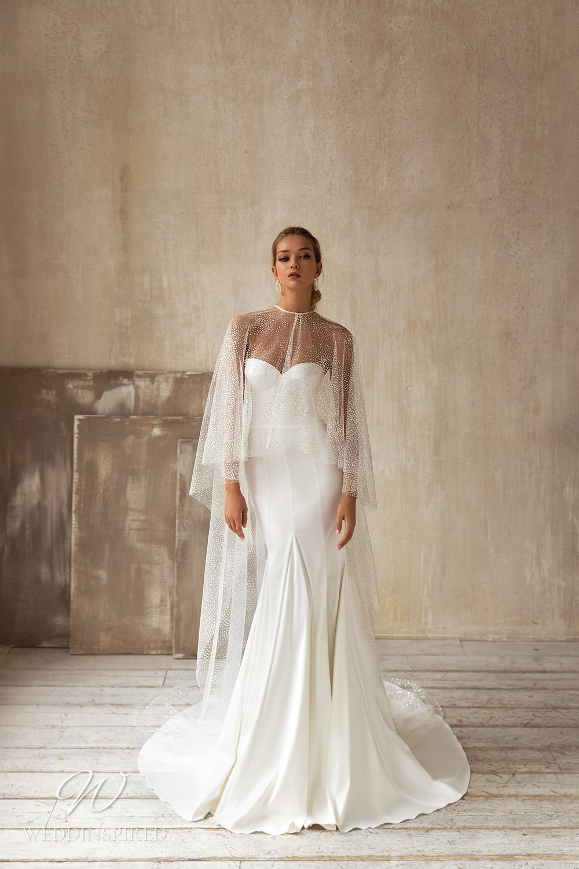 An Eva Lendel 2021 strapless silk mermaid wedding dress with a sweetheart neckline
