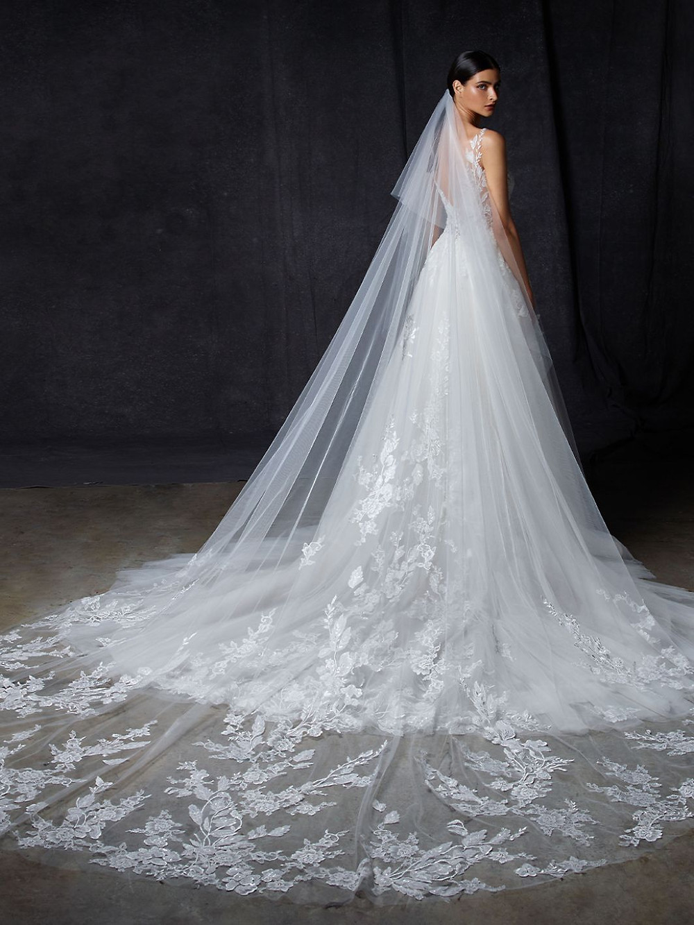 An Enzoani v neck, lace and tulle A-line wedding dress with straps and a veil