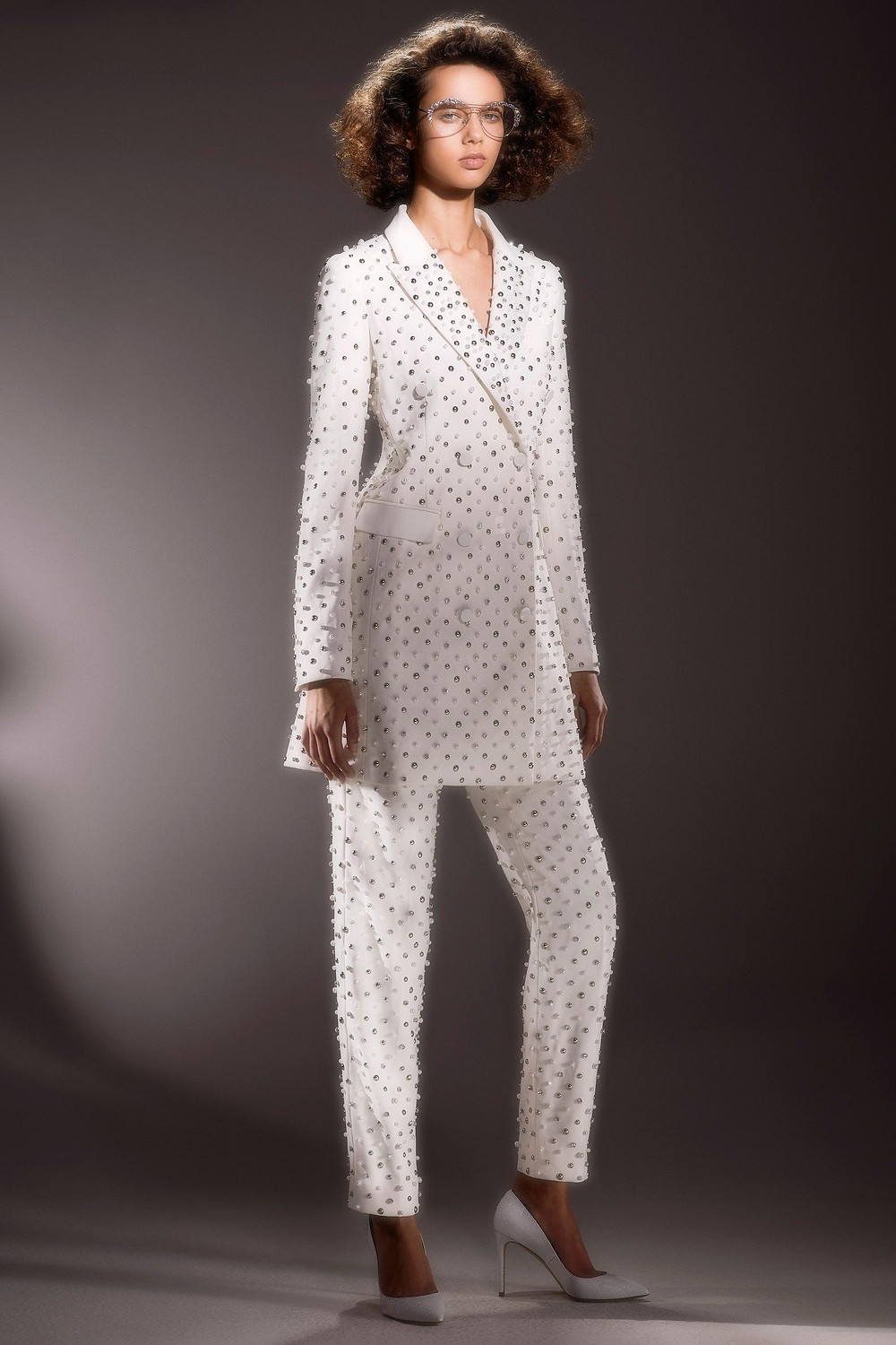 A Viktor & Rolf wedding pantsuit with beading, studs and long sleeves