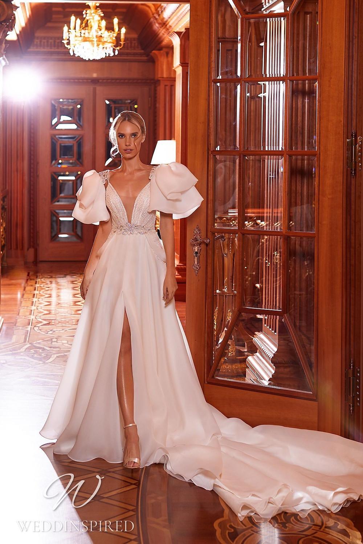A Pollardi 2021 chiffon A-line wedding dress with a v neck