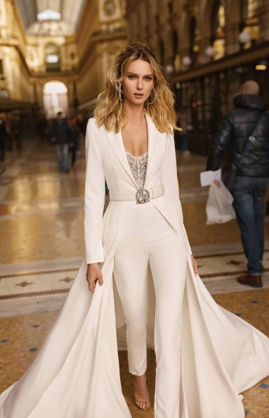 A Berta linen and lace wedding jumpsuit or pantsuit with a train