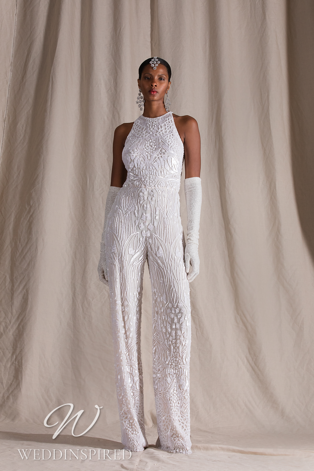 A Naeem Khan 2022 lace and tulle jumpsuit or pantsuit