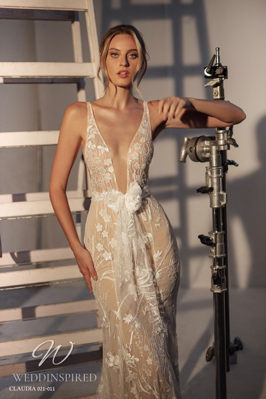 A Gali Karten 2021 nude mermaid wedding dress with a v neck and straps