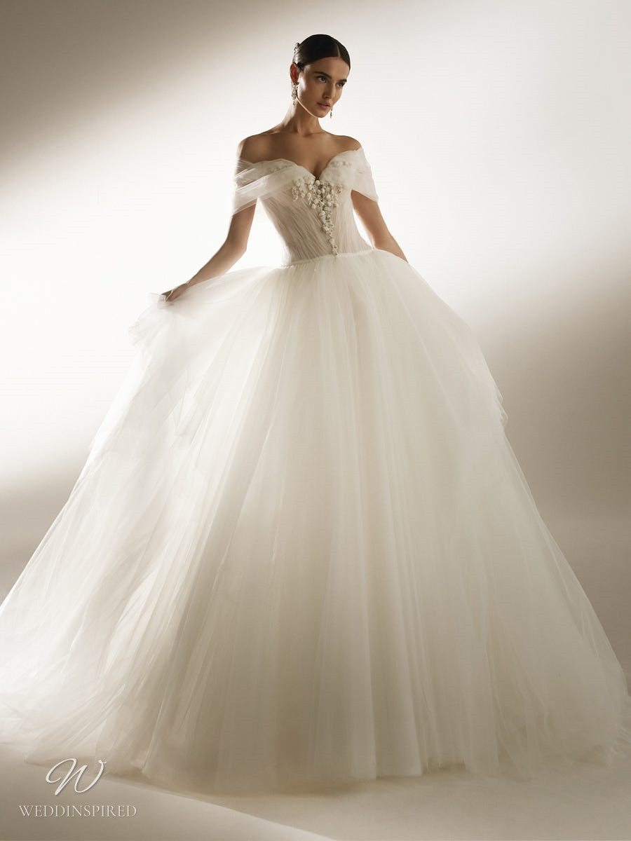 An Atelier Pronovias off the shoulder tulle princess ball gown wedding dress with a sweetheart neckline