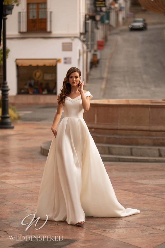 A Nora Naviano 2021 satin off the shoulder A-line wedding dress