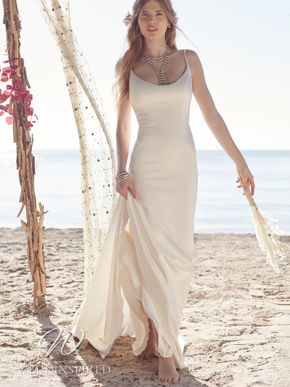 A Rebecca Ingram 2021 simple satin vintage boho mermaid wedding dress