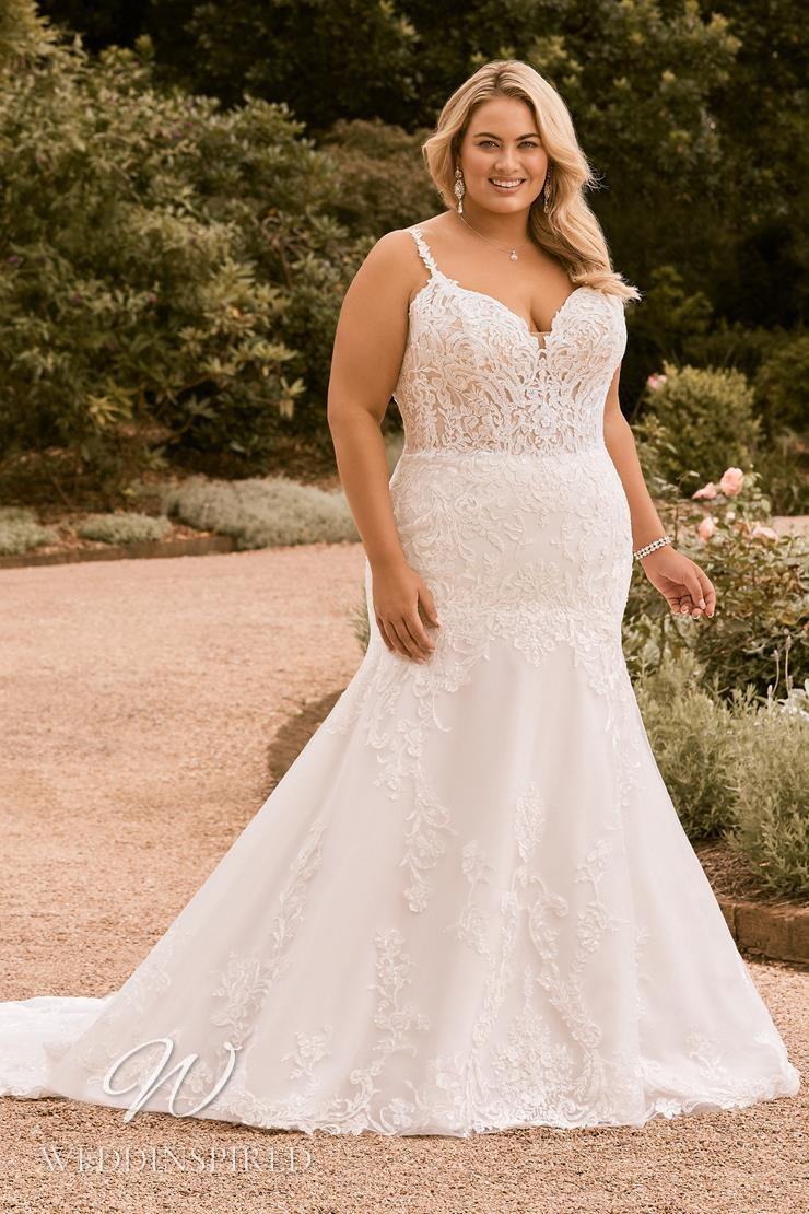 A Sophia Tolli 2021 plus size lace mermaid wedding dress