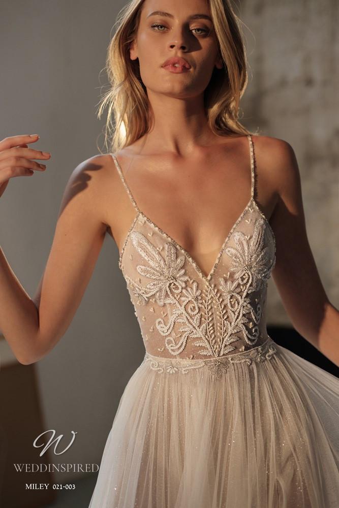 A Gali Karten 2021 nude flowy A-line wedding dress with thin straps