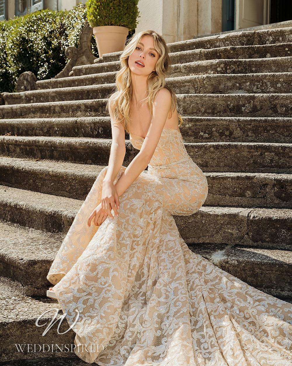 A Berta 2022 strapless blush mermaid wedding dress