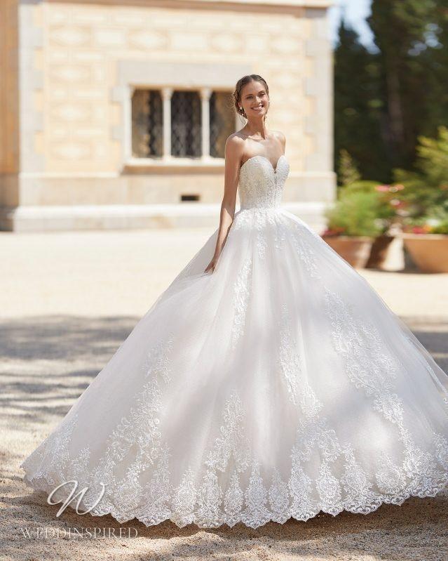 A Rosa Clara 2021 strapless lace princess ball gown wedding dress