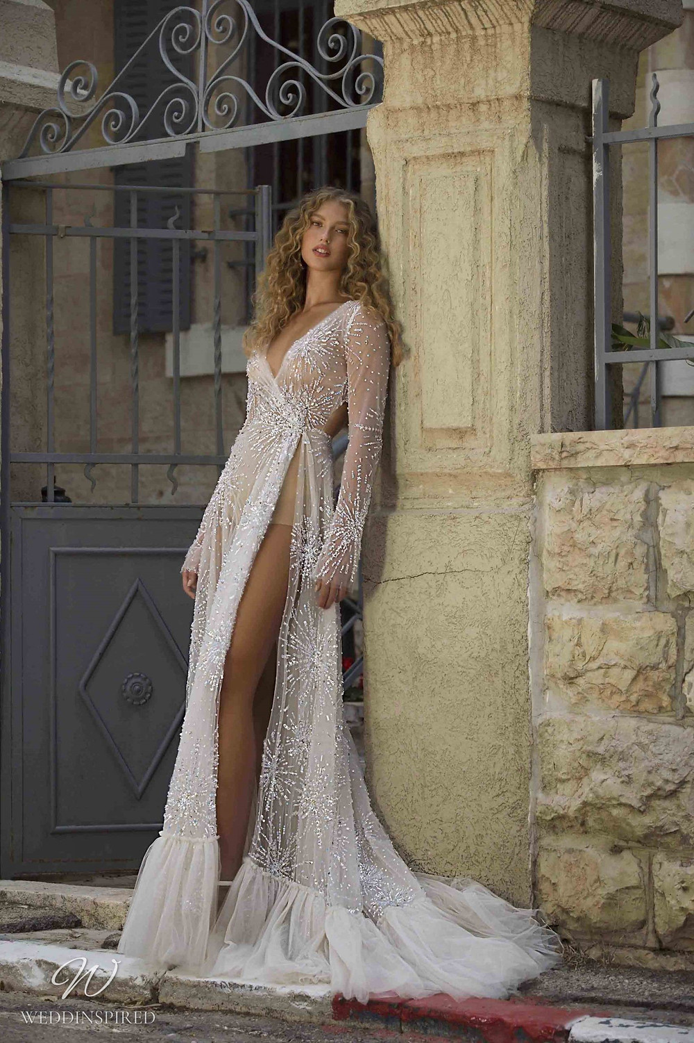 A Berta Colony 2021 sexy sparkly tulle A-line wedding dress with a high slit and long sleeves