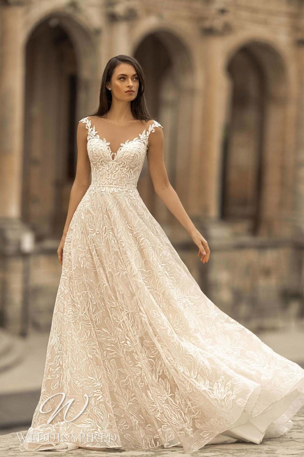 A Lussano 2021 ivory lace off the shoulder A-line wedding dress