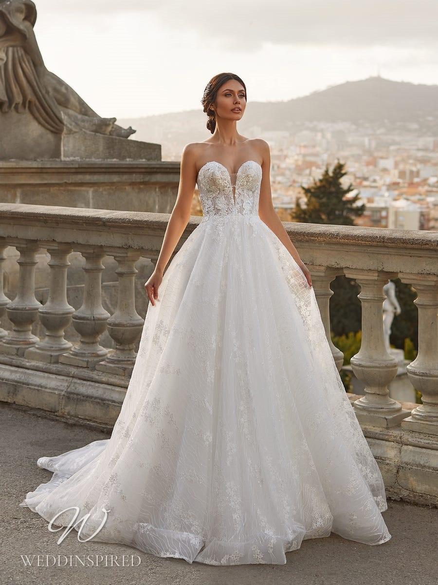 A Pronovias Privée 2021 strapless mesh A-line wedding dress with a sweetheart neckline
