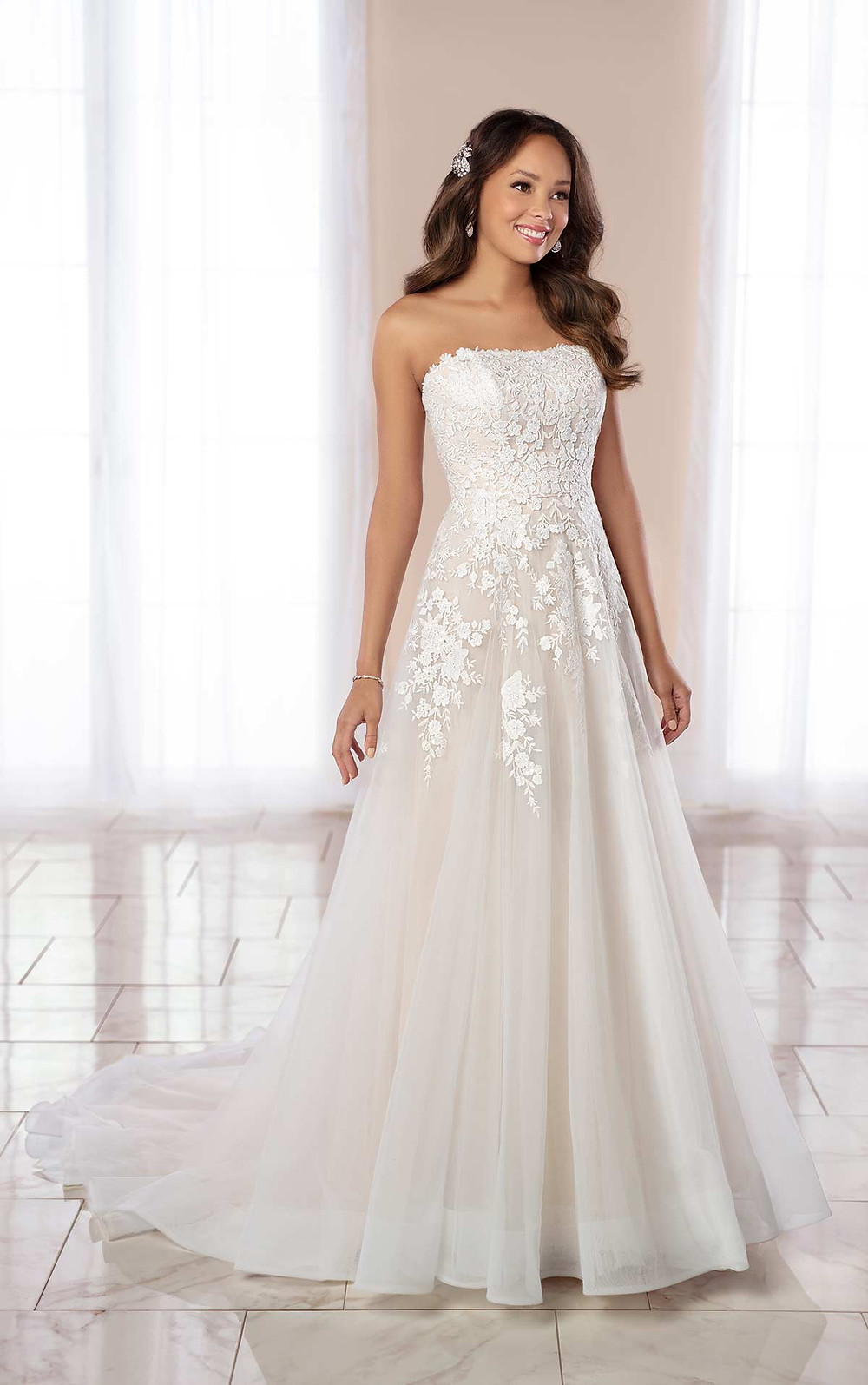 A Stella York 2020 strapless ivory lace and tulle A-line wedding dress