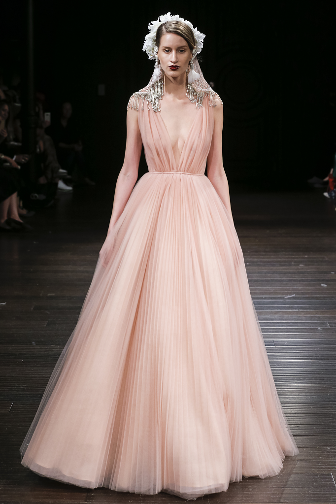 A Naeem Khan pink blush pleated romantic ball gown wedding dress