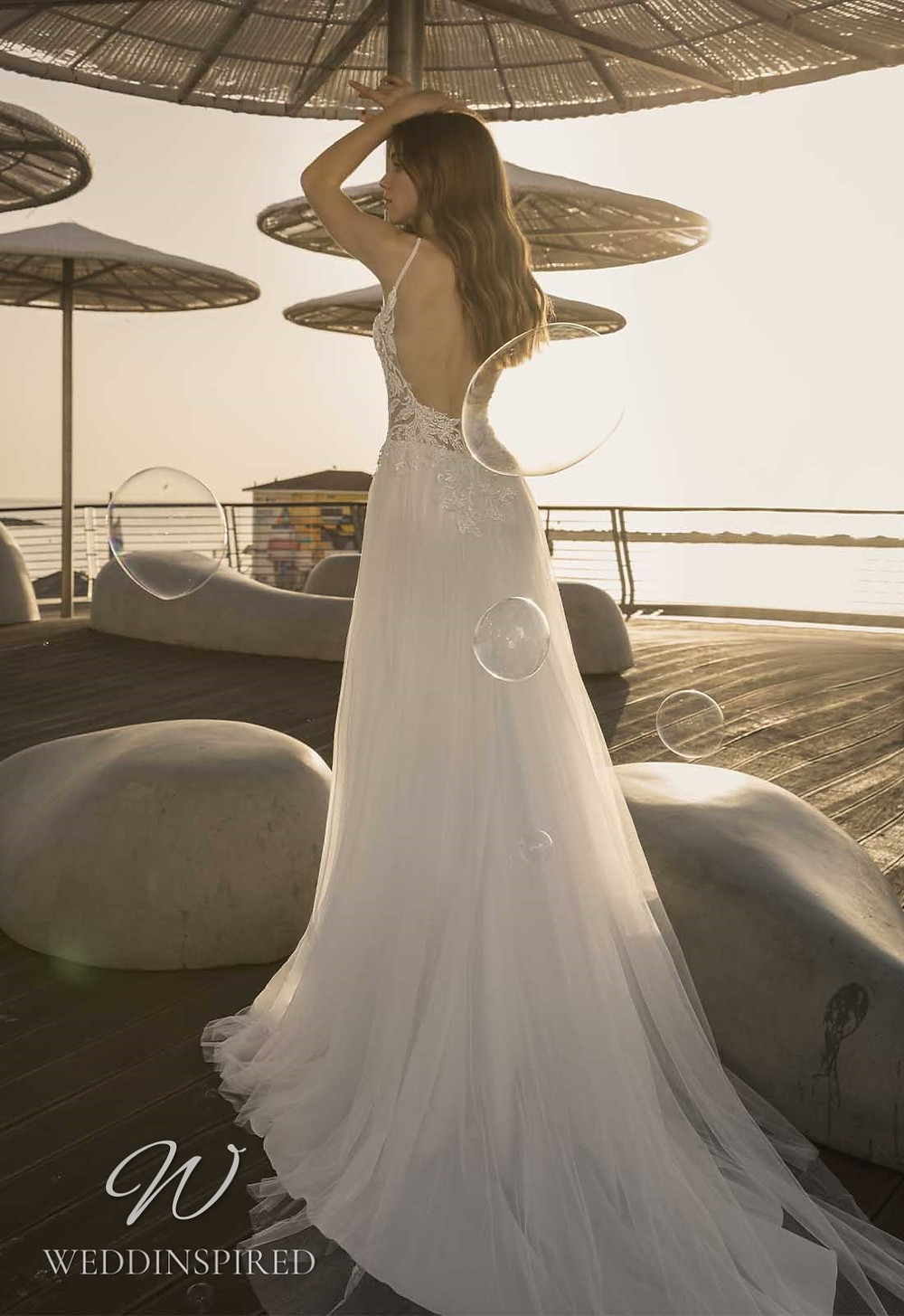 A Pnina Tornai 2021 backless lace and tulle A-line wedding dress