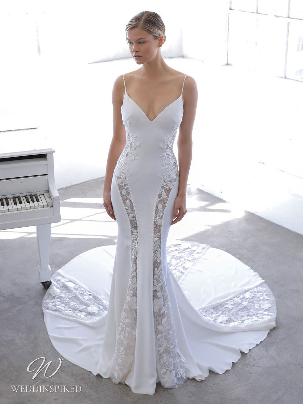 A Blue by Enzoani 2021 crepe and lace panel mermaid wedding dress with straps and a v neck