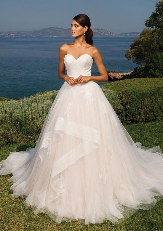 A Justin Alexander strapless blush ball gown wedding dress