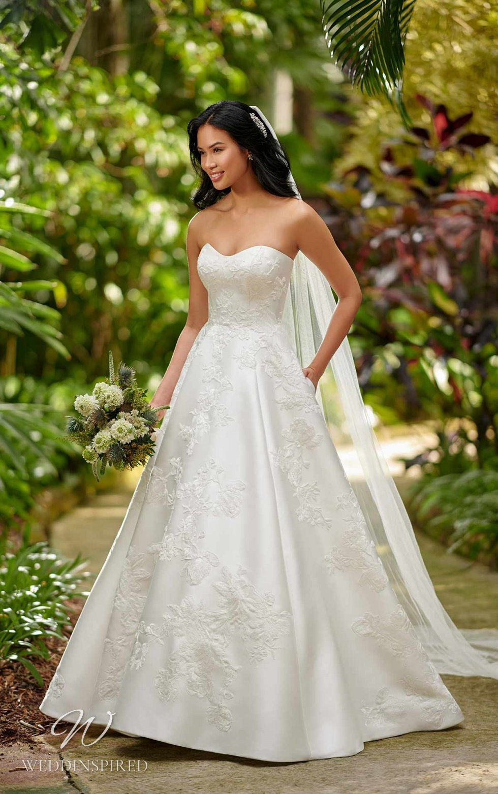 An Essense of Australia lace, silk and satin strapless ball gown wedding dress