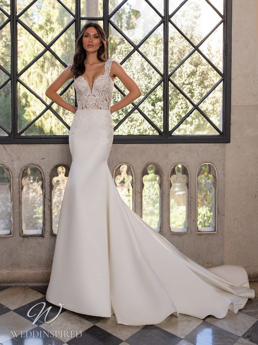 A Pronovias 2021 lace and satin mermaid wedding dress with straps