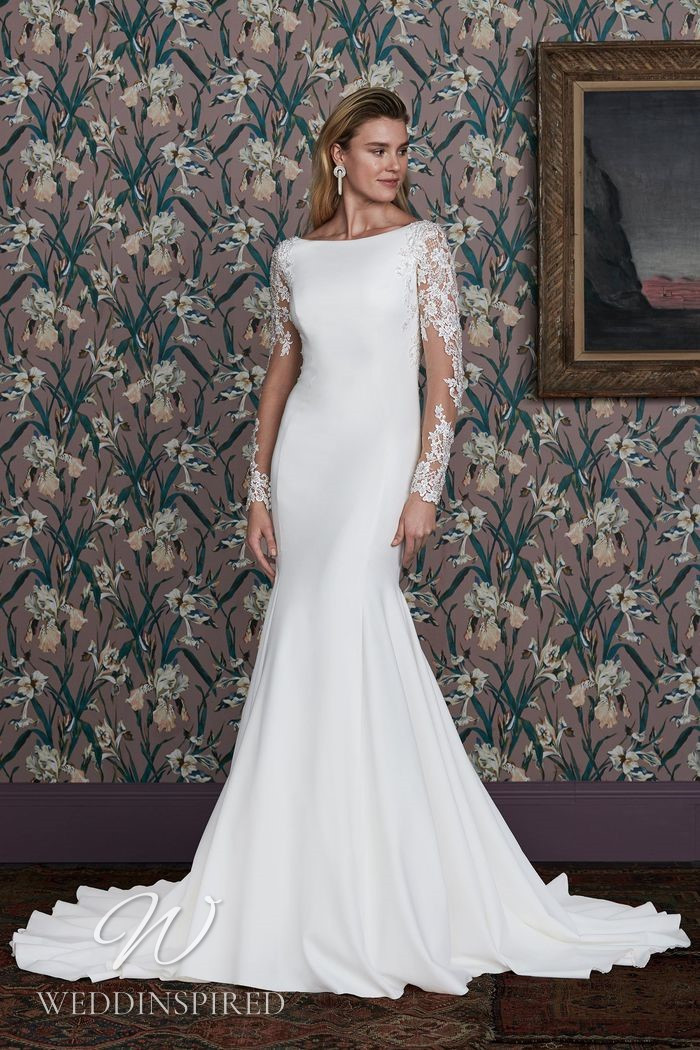 A Justin Alexander 2021 lace and satin mermaid wedding dress