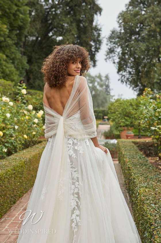 A Monique Lhuillier Bliss Fall 2021 strapless lace and tulle A-line wedding dress