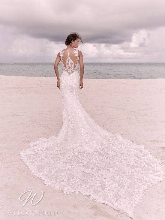 A Sottero & Midgley Spring 2021 lace mermaid wedding dress with an illusion back and a train