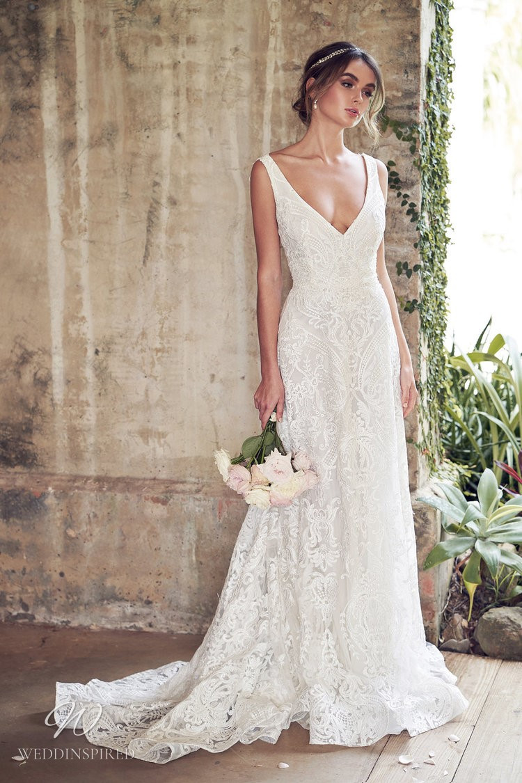 An Anna Campbell 2020 romantic lace, v neck A-line wedding dress
