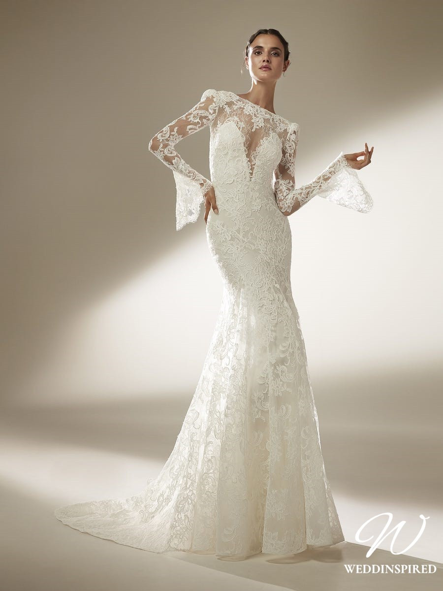 An Atelier Pronovias lace mermaid wedding dress with an illusion neckline and long sleeves
