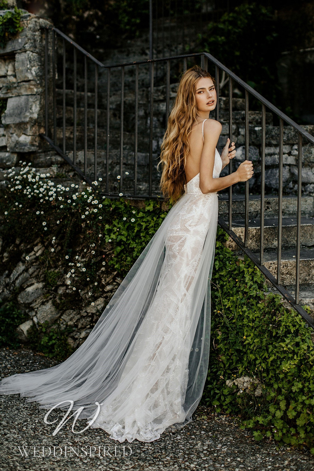 A Berta 2022 lace and tulle mermaid wedding dress