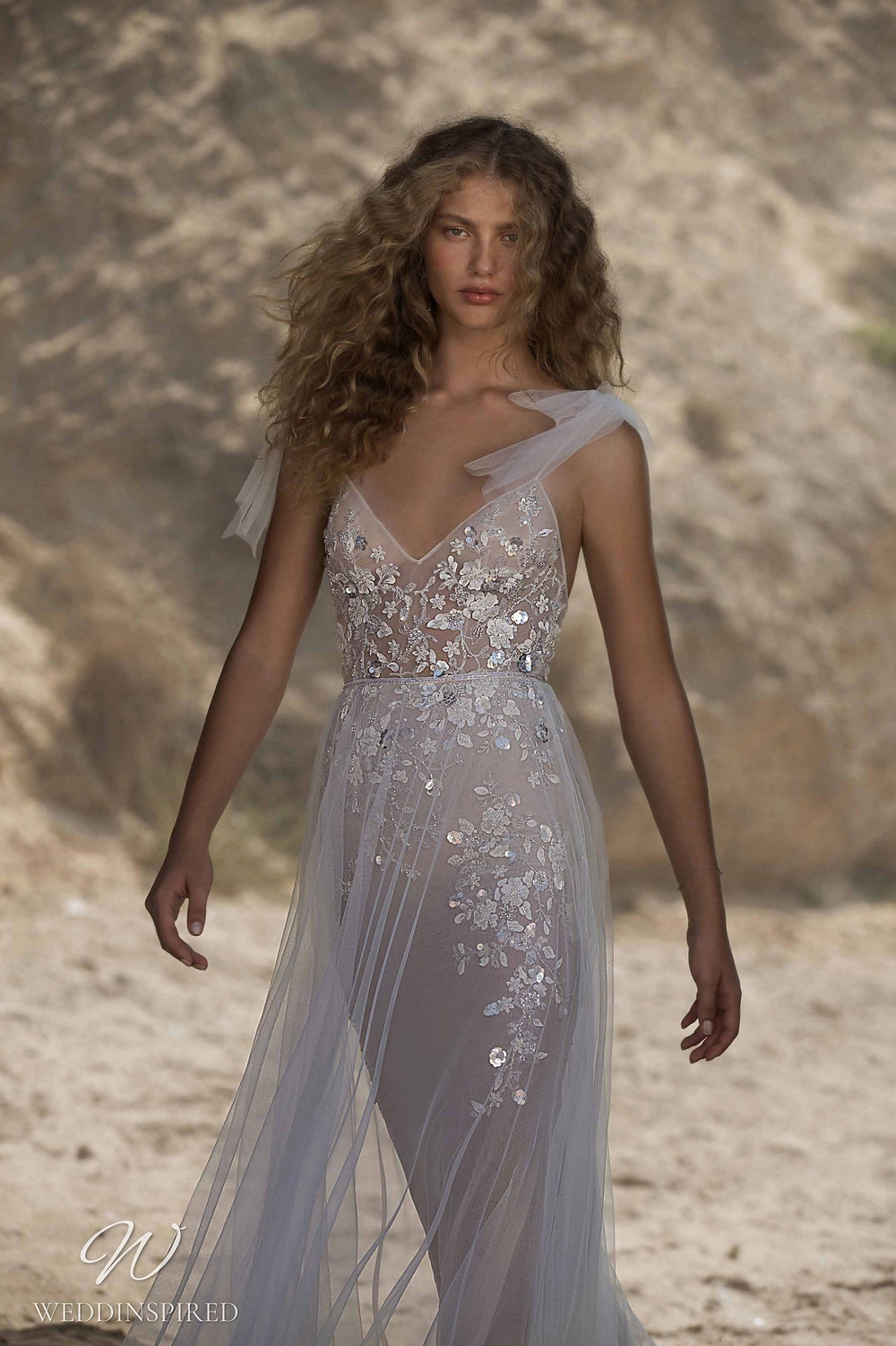 A Muse by Berta tulle beach mermaid wedding dress with silver glitter