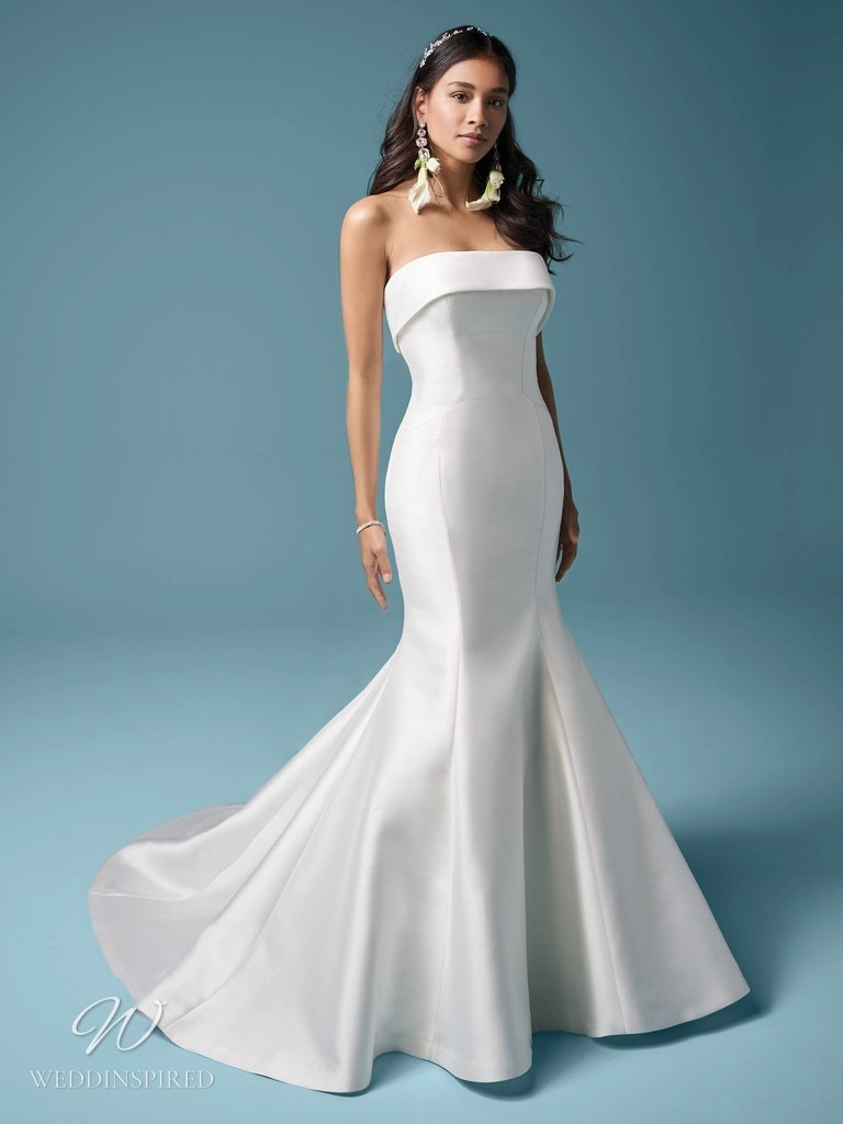 A Maggie Sottero 2021 simple strapless silk mermaid wedding dress