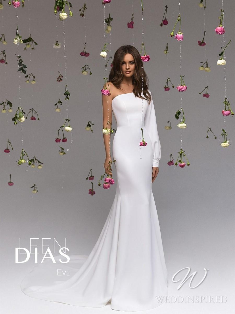 A Leen Dias 2021 simple satin one shoulder mermaid wedding dress