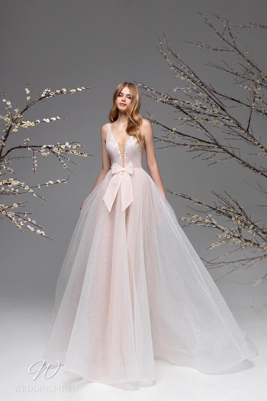 A Ricca Sposa blush mesh A-line wedding dress
