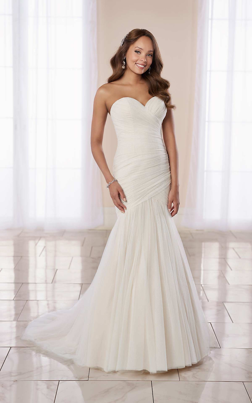 A Stella York 2020 simple strapless fit and flare wedding dress