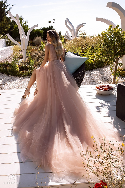A Tina Valerdi romantic blush pink tulle A-line wedding dress