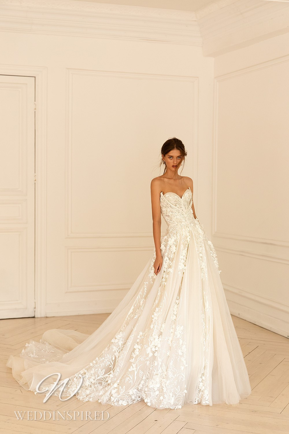 A WONÁ Concept 2021 strapless tulle and lace A-line wedding dress