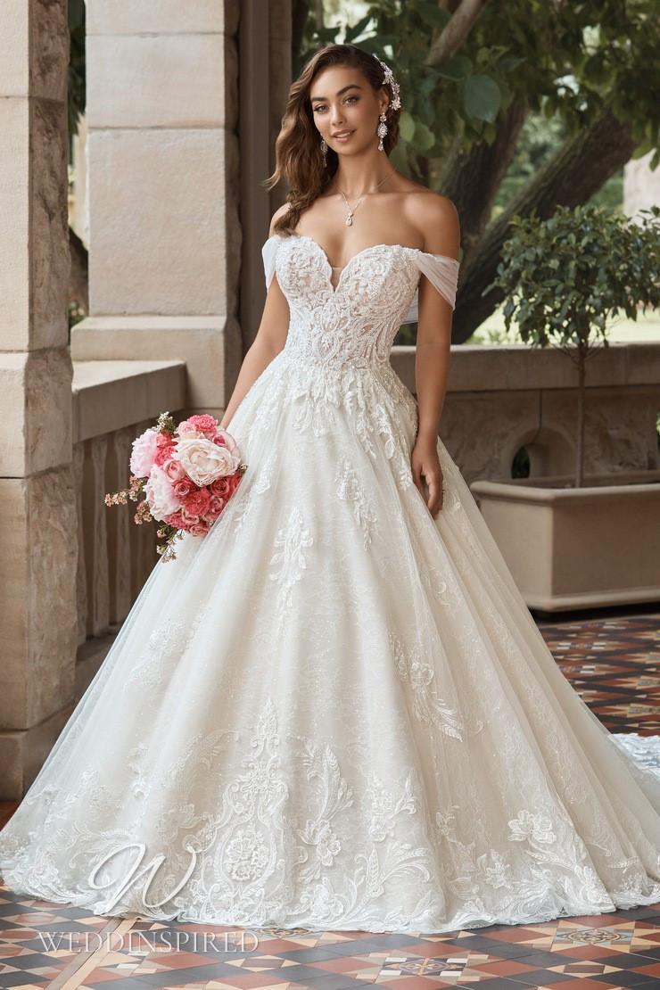 A Sophia Tolli 2021 off the shoulder lace princess wedding dress