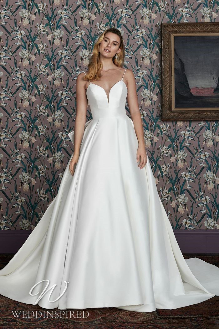 A Justin Alexander 2021 simple satin A-line wedding dress