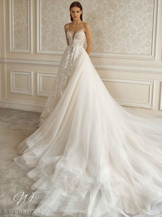 A Galia Lahav 2021 white lace and tulle ball gown wedding dress with straps and a train