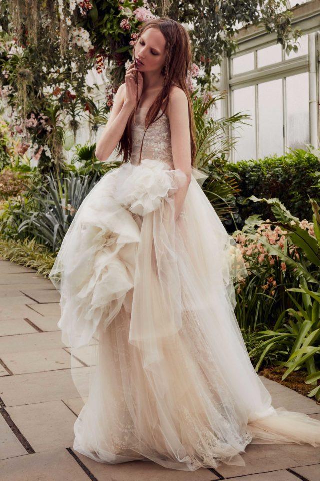 A Vera Wang blush tan tulle ball gown wedding dress