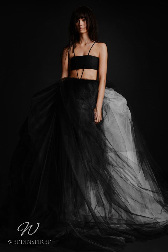 A Vera Wang Fall 2021 black and white tulle wedding dress