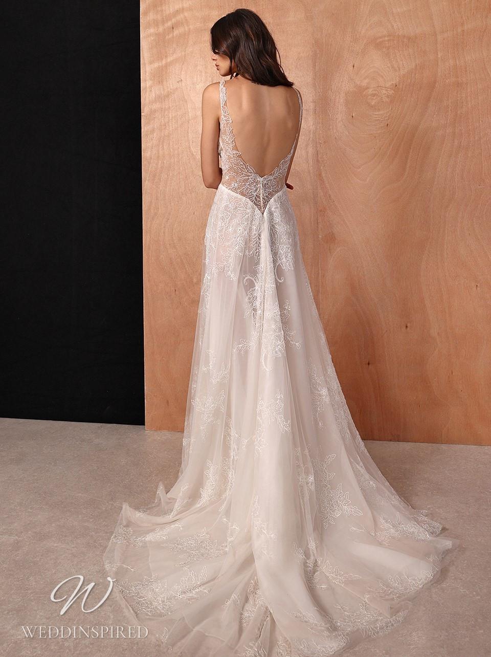A Galia Lahav 2022 lace A-line wedding dress with an open back