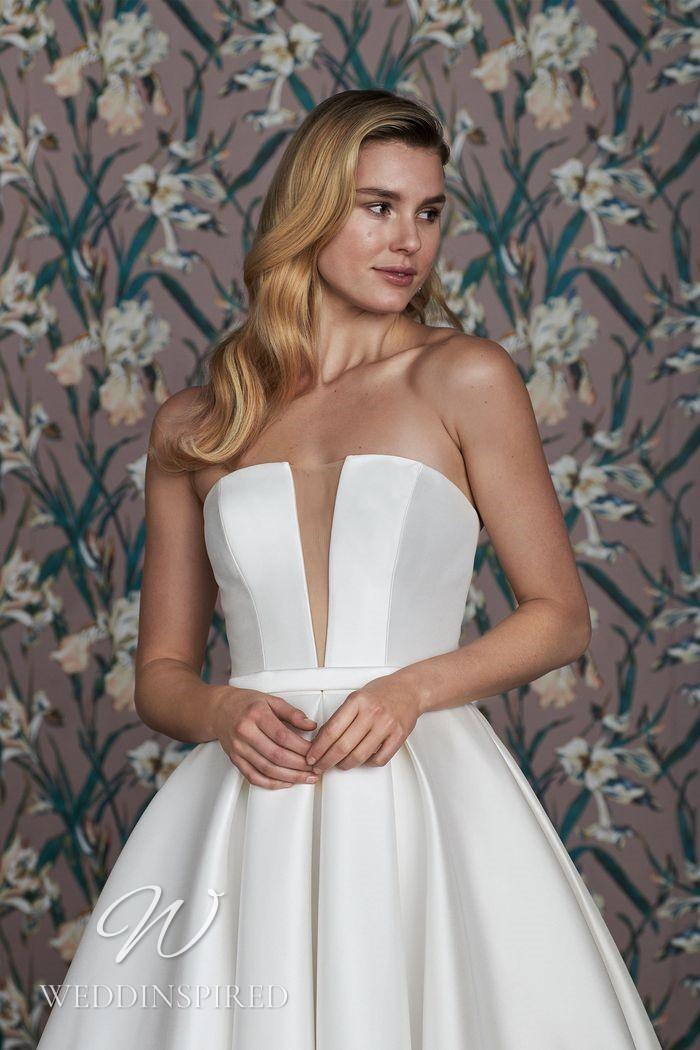 A Justin Alexander 2021 strapless satin princess wedding dress