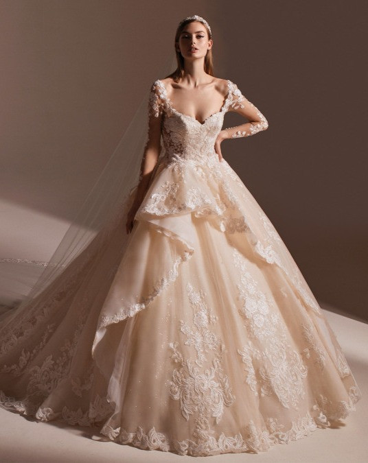 A Pronovias blush princess ball gown wedding dress