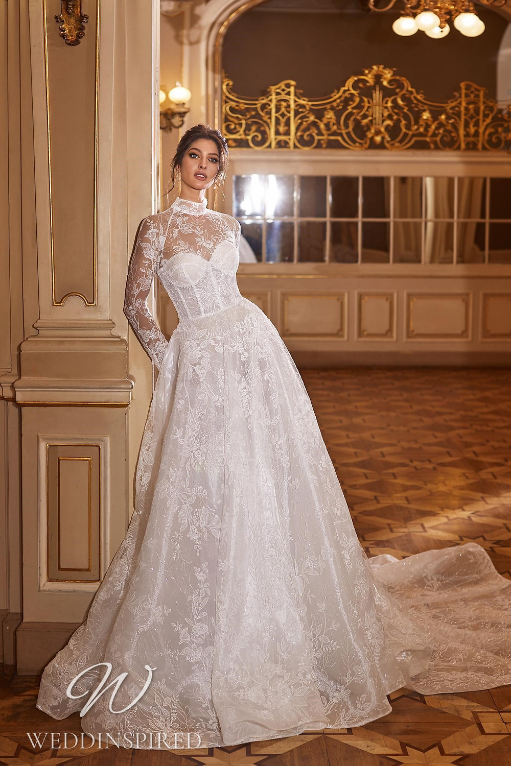 A Ricca Sposa 2022 lace and tulle A-line wedding dress with long sleeves