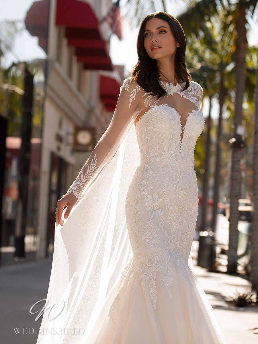 A Pronovias 2021 strapless lace and tulle mermaid wedding dress
