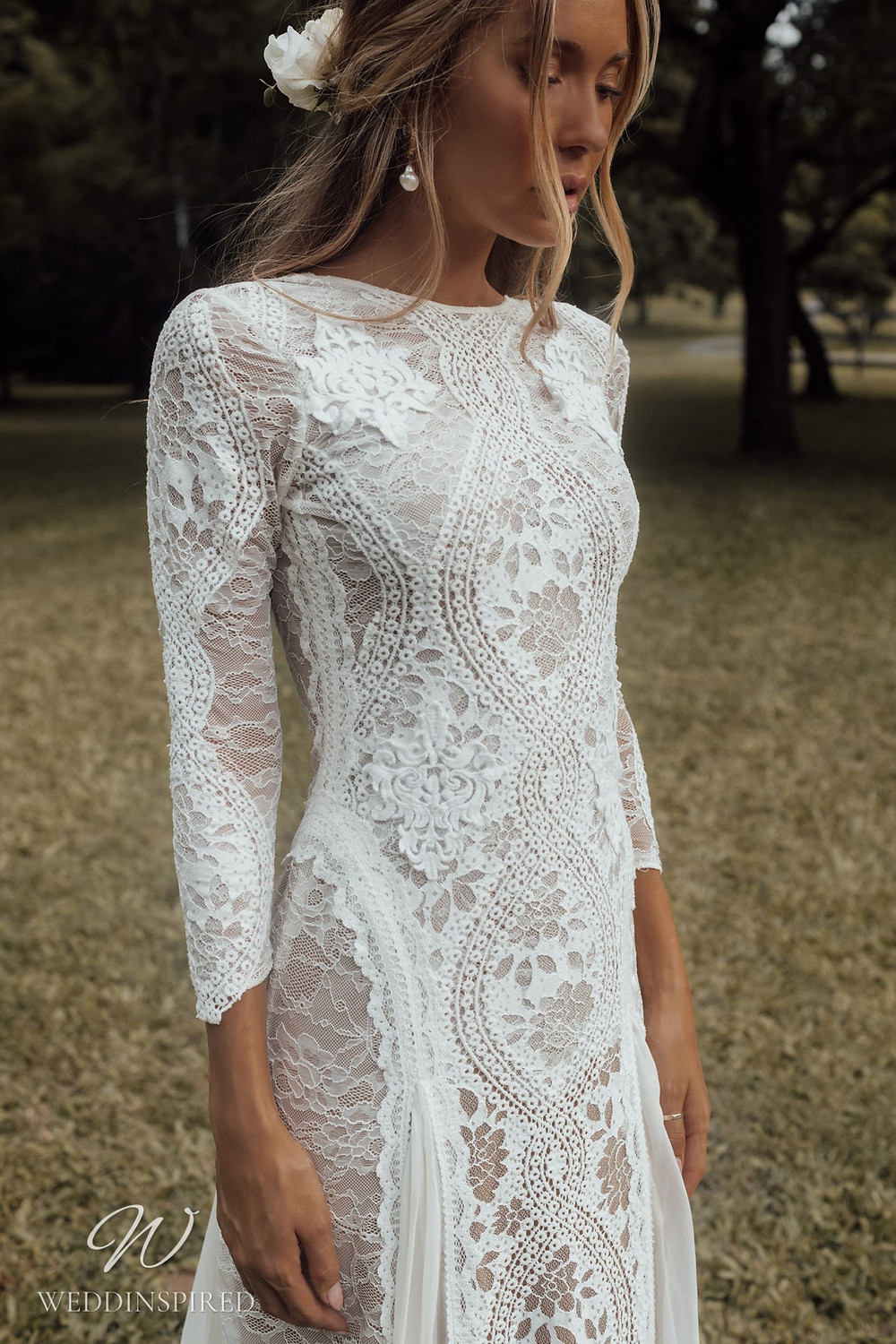 A Grace Loves Lace modest boho lace A-line wedding dress with long sleeves and a high neckline